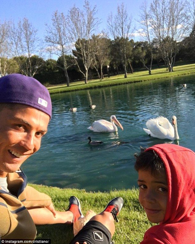 Real Madrid forward Cristiano Ronaldo (left) posted this selfie with son Cristiano Ronaldo...