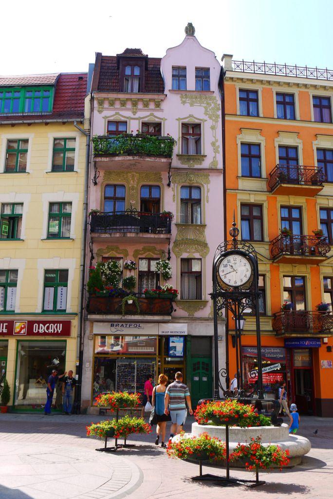 Toruń, Poland - Façade of shop fronts along ul. Wielkie Garbary