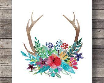 Geweih druckbare Kunst   Aquarelle Geweih Blumen print   Natur Wald Waldblumen   Druckbare Geweih Aquarelle Blumen Wandbilder