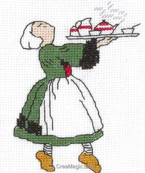 broderie au point de croix Bécassine à la cuisine sur toile Aida en kit broderie de Princesse 7124