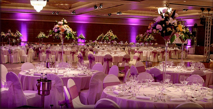 Reception hall decoration purple quinceanera theme for Wedding hall decoration items
