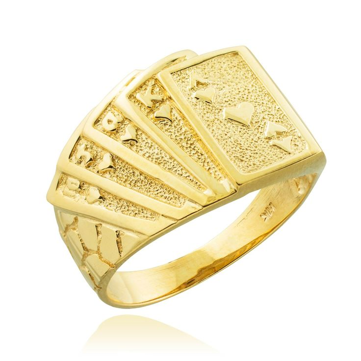 Men's 10k Yellow Gold Lucky Nugget Band Royal Flush of Hearts Poker Ring (Size 8.25). handmade good luck charm casino gambling jewelry showcasing a golden nugget design band with five playing cards (Ten, Jack, Queen, King, and Ace of Hearts) forming a royal flush poker hand. masterfully handcrafted with 10 karat yellow gold in fine polished finish. comes with free special gift packaging. made in the USA yet offered at factory direct jewelry price. ships directly from the manufacturer to…