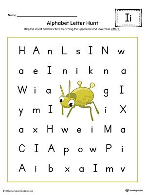Alphabet Letter Hunt: Letter I Worksheet (Color ...