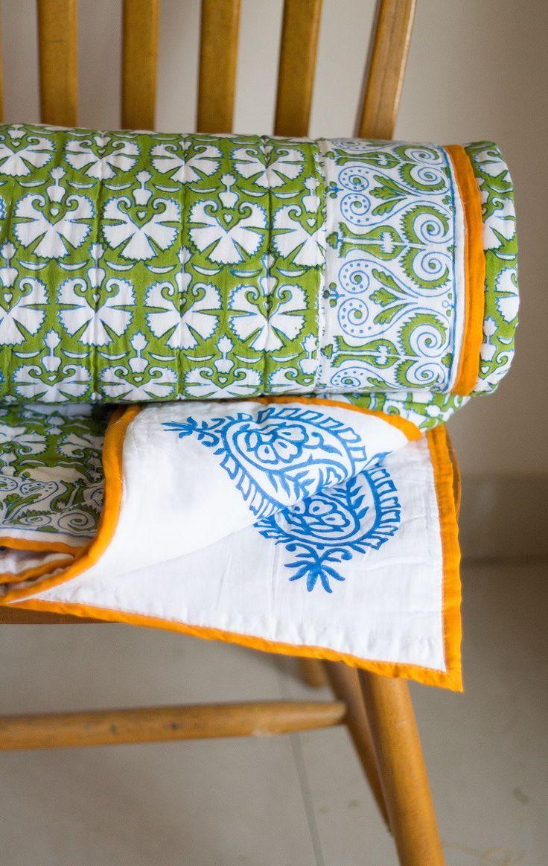 block print twin quilt green navy and orange taj mahal quilt kari by - Twin Quilts