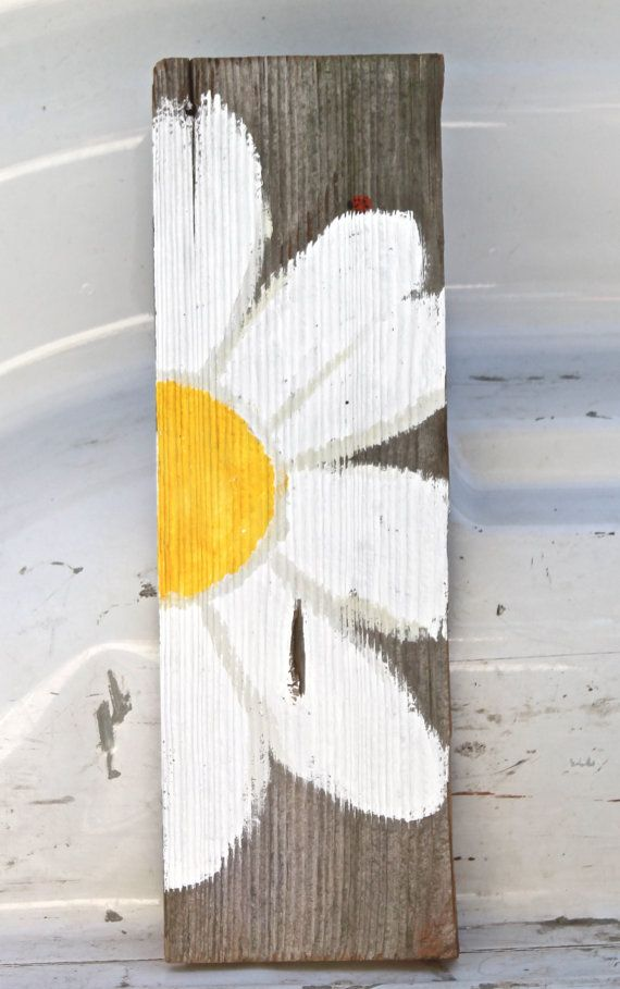 Daisy Wall Hanging approx 4X12 Hand Painted Daisy by DeesSignPost