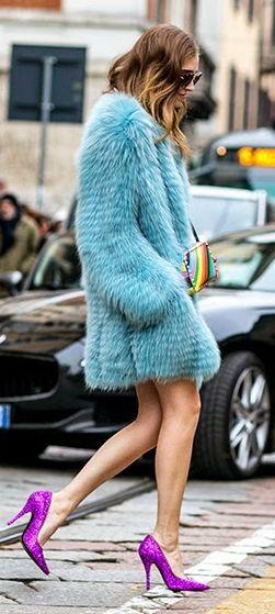 Baby Blue Faux Fur Coat Outfit Idea