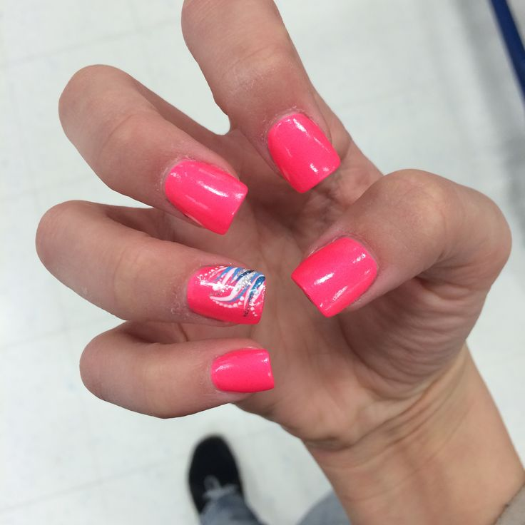 pink acrylic nails with ring finger design nails
