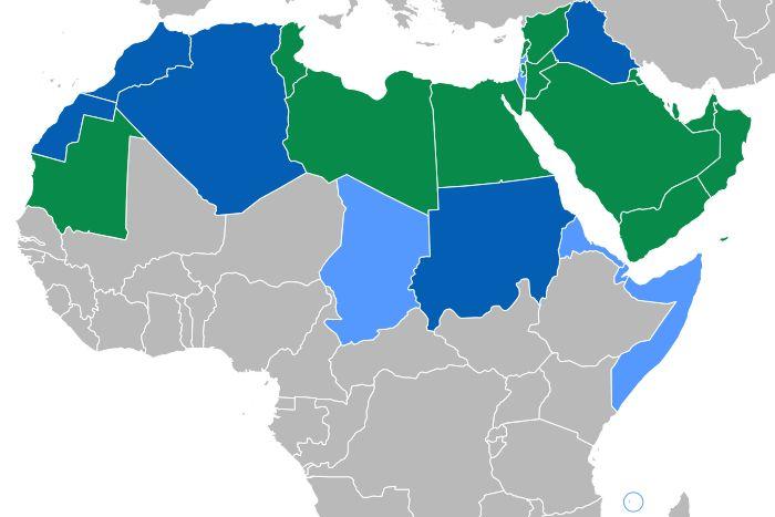 VERDE Países donde el árabe es la única lengua oficial  AZUL Lengua cooficial con mayoría de árabe parlantes  CELESTE Lengua cooficial con minoría de árabe parlantes