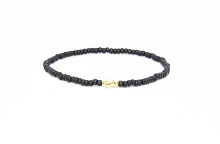 18K Solid Yellow Gold Beaded Bracelet Black Matte - Men's & Women's Stylish & Unique Bracelets