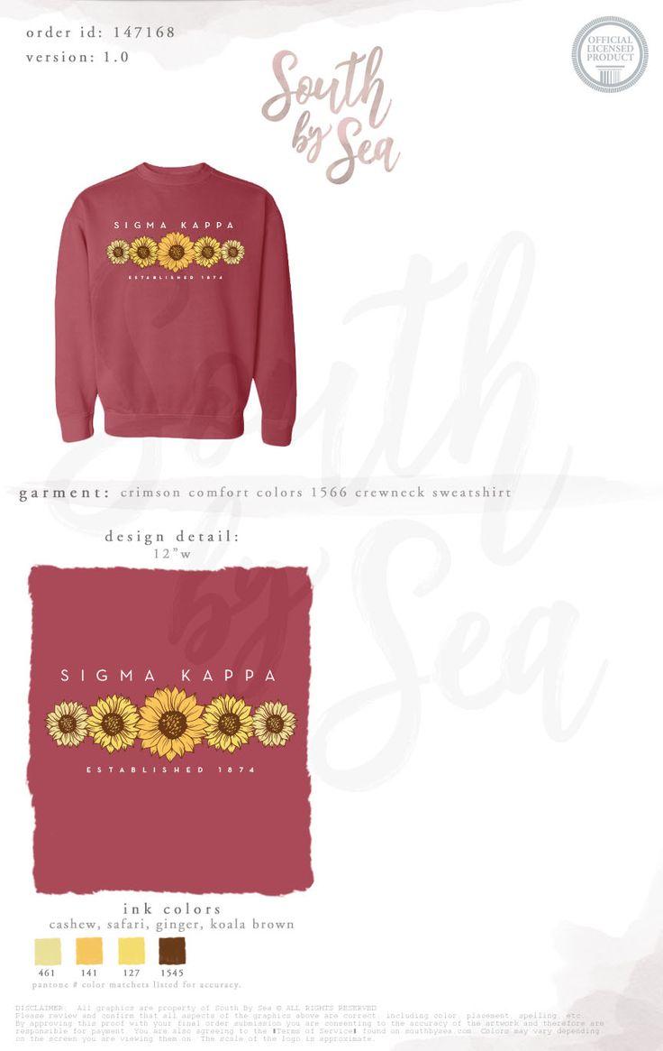 Sigma Kappa | SK | Sunflower Design | Floral Design | Fall Design | Sweatshirt Design | Sisterhood | Recruitment | Bid Day | South by Sea | Greek Tee Shirts | Greek Tank Tops | Custom Apparel Design | Custom Greek Apparel | Sorority Tee Shirts | Sorority Tanks | Sorority Shirt Designs