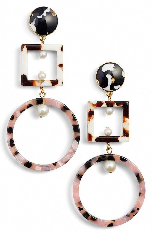 Tacheté Acrylique Dangle Drop Statement Boucles D/'oreilles Femmes Ear Stud Fashion Jewelry