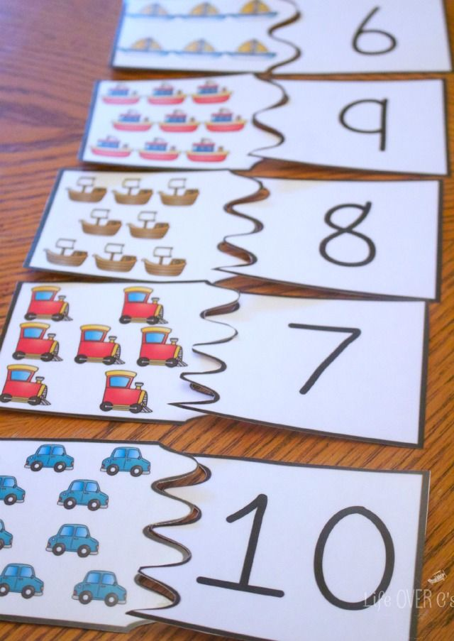 Transportation themed puzzles and three other free printable activities for counting to 10.