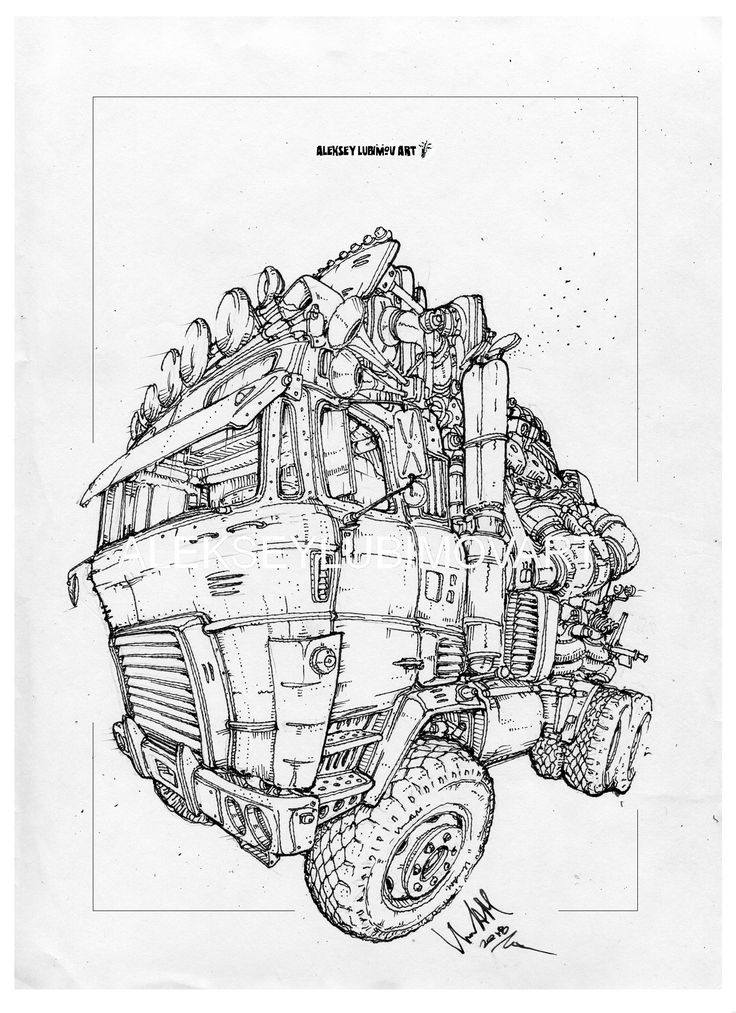 #truck/Author Aleksey Lubimov. #alekseylubimov_art #алексейлюбимовбиомеханика #алексейлюбимов #стимпанк #дизельпанк #биомеханика #marchofrobots #steampunk #dieselpunk #biomechanical #lineart #engine #motor #inktober2018 #technodoodling
