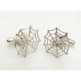 Hallmarked Silver Spider and Web Cufflinks