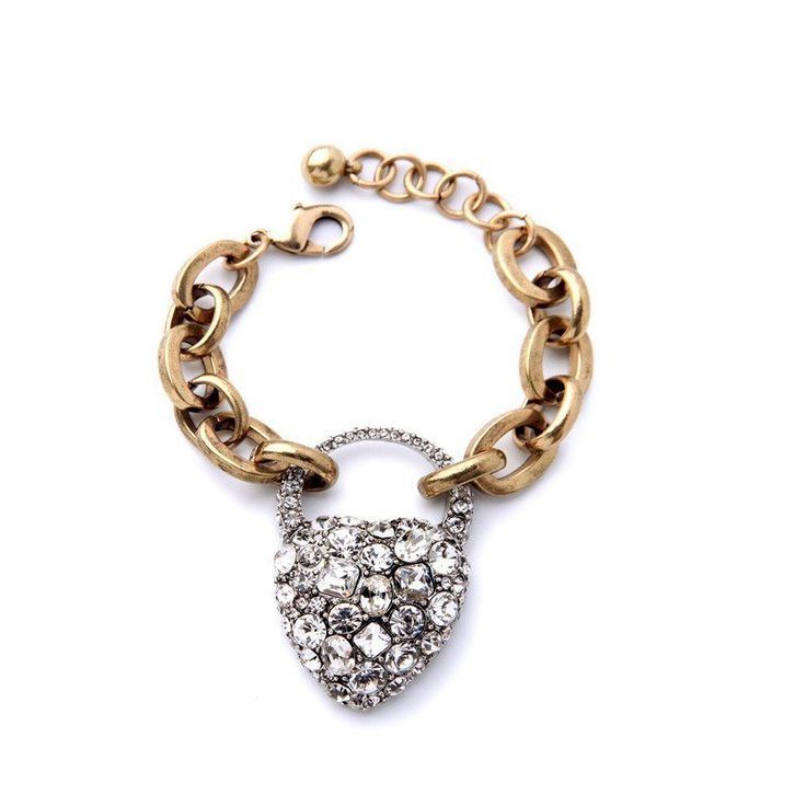 Fashion Bracelet - Titran Sparkling Crystal Heart In Gold Plated Chunky Chain Bracelet