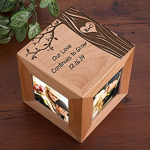 "I LOVE LOVE LOVE this ""Carved In Love"" Wood Photo Cube! The tree design is so beautiful - this makes a great wedding gift or Valentine's Day gift - great to have for a desk at work! Plus it's a great 5th anniversary gift idea because the traditional gift is ""wood""!"