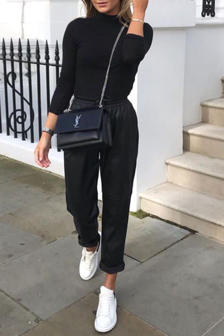 Mode femme printemps tenue casual et basique pour tous les jours avec un pantalo…