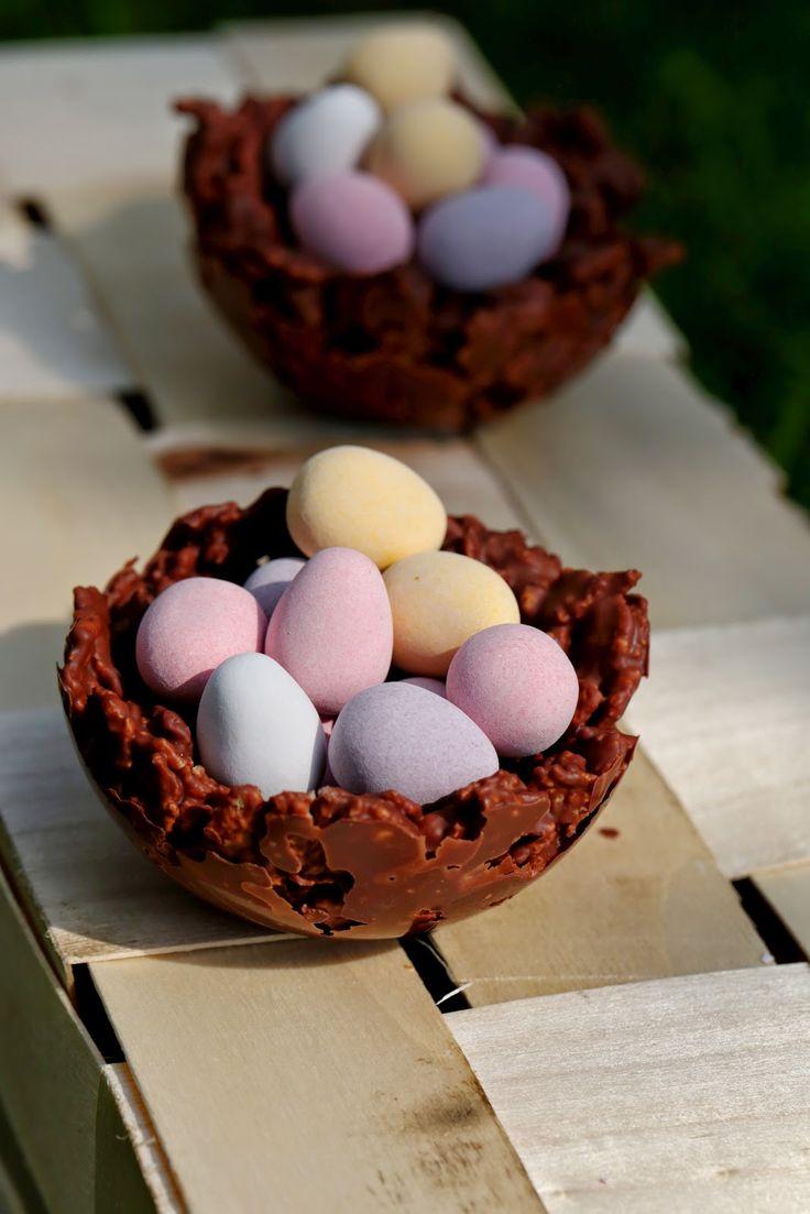 Nids de Pâques croustillants au chocolat