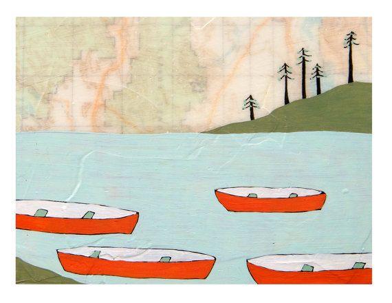 Canoes Map Print // Boat Art // Cabin Art // by rachelaustin