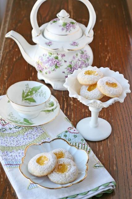 I am ready for tea...lemon thumbprint cookies