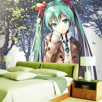 Hatsune Miku Wallpaper Custom 3D Photo wallpaper for walls Anime Girls Wall mural Vocaloid Bedroom Dormitory Cute Room decor