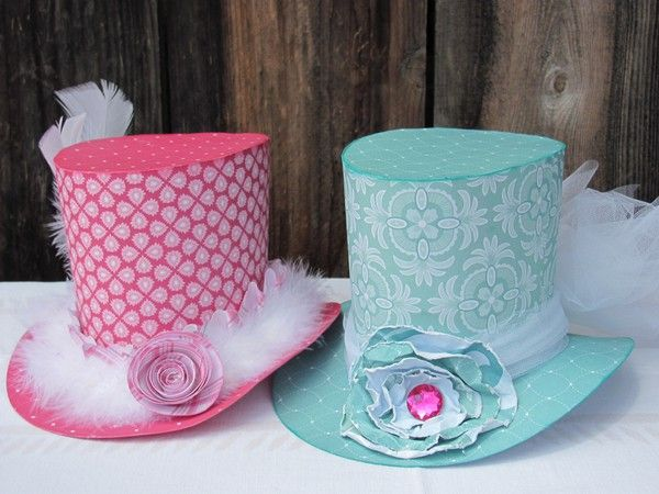 Paper hats cute for madd hatter themed tea party make for How to decorate a hat for a tea party