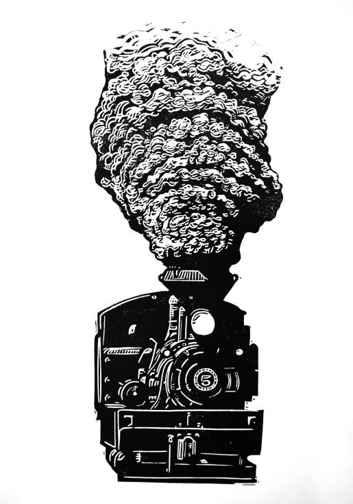 ARTFINDER: Loco 5 by Ieuan Edwards - A linocut of a steam train, printed in black oil-based ink on archival Somerset Satin cotton rag paper.  I hadn't realised how enjoyable carving smoke could ...