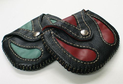 hand sewn leather coin purse mxs