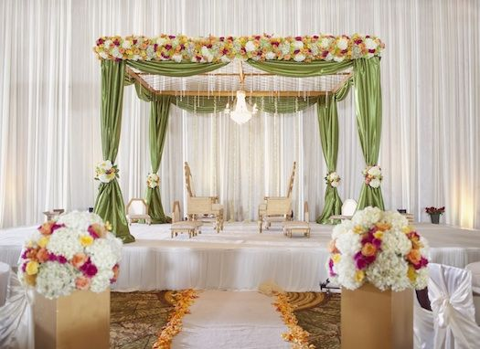 green indian wedding mandap