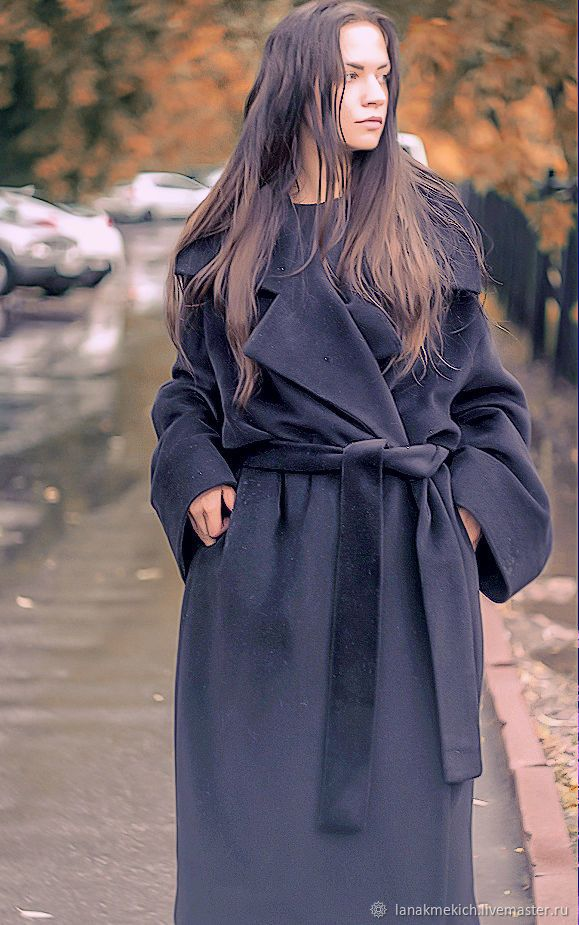 """Купить пальто-халат  оверсайз """" Роскошное"""" - черный, пальто оверсайз, пальто-халат"""