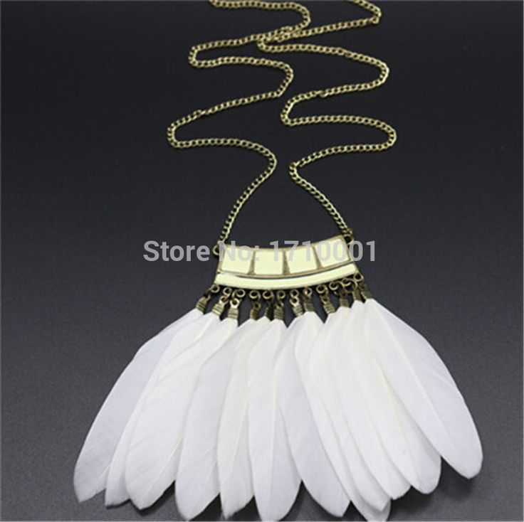 Чёрно белый позолота винтажный перо ожерелье женщины ожерелья для женщины купить на AliExpress