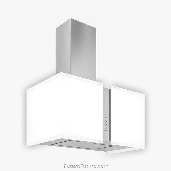 Illuminated Glass Range Hood 27 Murano Snow Led Wall Model Futuro Futuro Brand Range Hood Glass Range Hood Murano