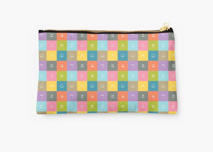 Emoji Emoticon Pattern Illustration by Gordon White | Emoji Studio Pouch Available @redbubble --------------------------- #redbubble #emoji #emoticon #smiley #faces #cute #addorable #pattern #studiopouch #pouch #bag