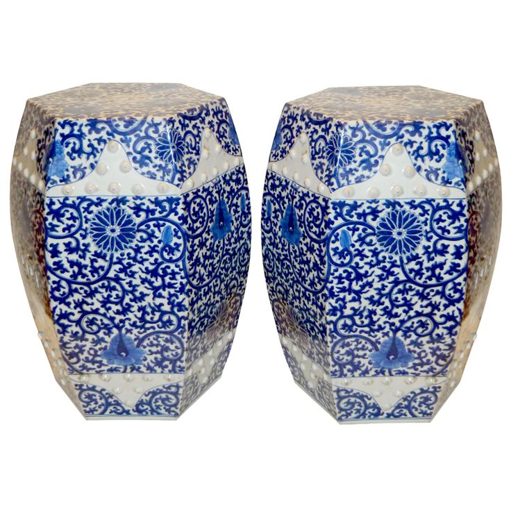 A Pair Of Hexagonal Porcelain Stools, 19th c. These are fabulous!: But Something, Chinese Stools, Sfj House Decorating, Porcelain Stools, Blue, Art, White, Antique 19Th