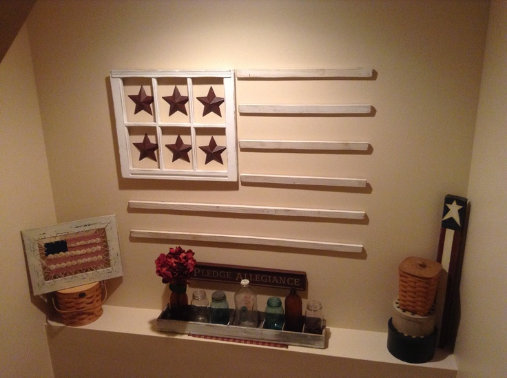 Love my window pane flag that 39 s a cute idea use old for Old wooden windows craft ideas