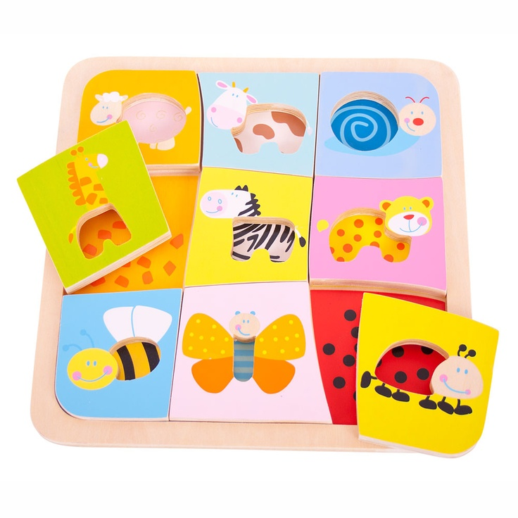 Each of the brightly coloured pieces in this animal puzzle features a cut away area in the middle. That makes them easy to pick up, and also helps to spot the perfect match as the pattern on the base peeps through. This educational toy helps develop concentration, dexterity and, of course, matching skills. Consists of 9 puzzle pieces. Ages 18 months and up. http://shop.bigjigstoys.co.uk/p/animal-pattern-puzzle