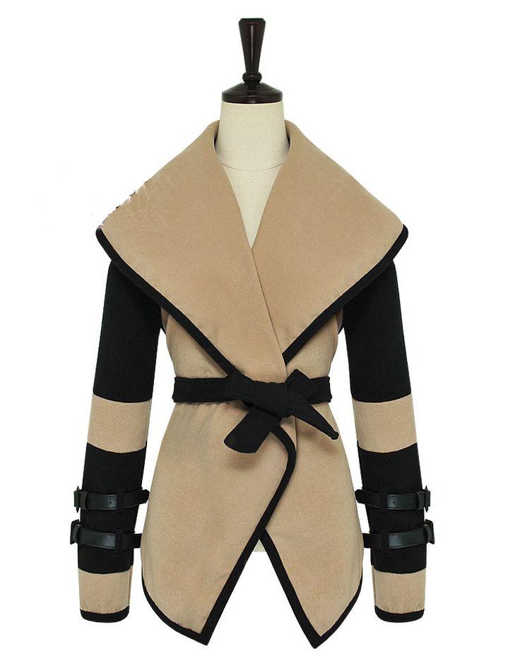 Coffee And Black Slim Large Collar Shawl  Waistcoat