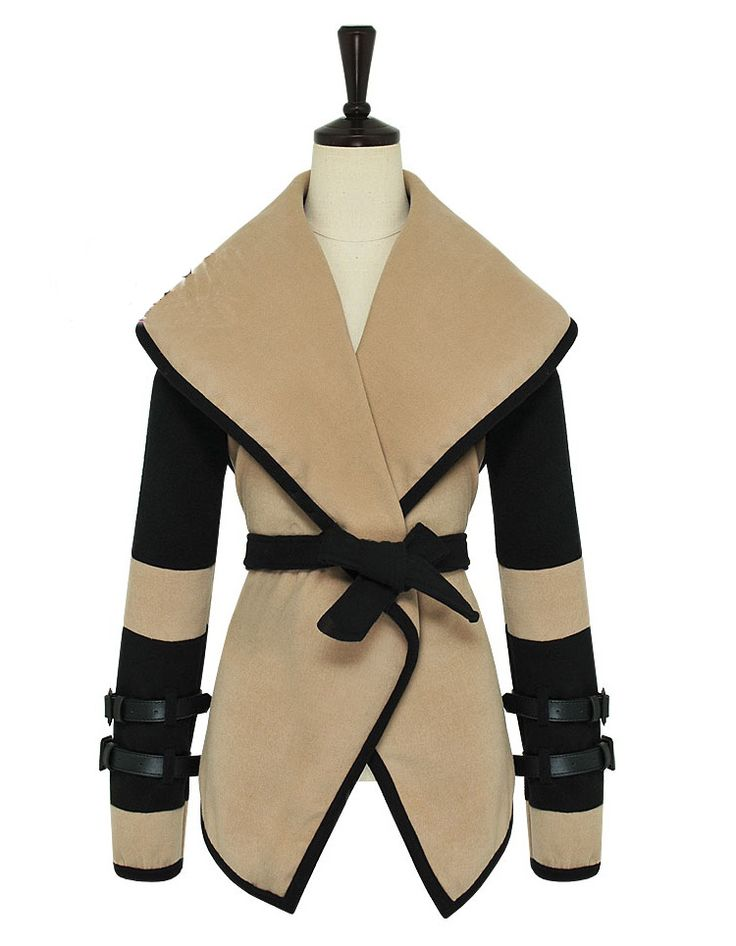 Wholesale Fashionable Style Worsted Turn-Down Collar Color Block Long Sleeves Coat For