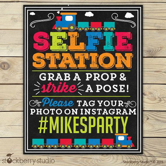 Photo Booth Sign Printable Train Party Selfie Props