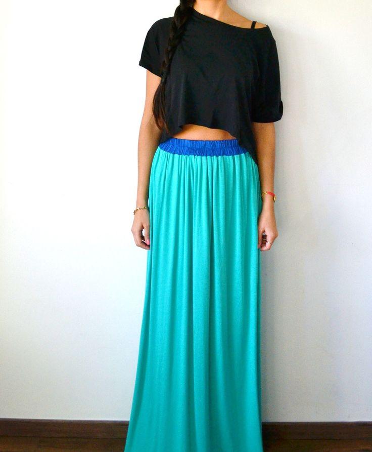Jupe longue fendue vert menthe et bleu électrique tendance été pour femme bohème et hippie : Jupe par menina-for-mathis