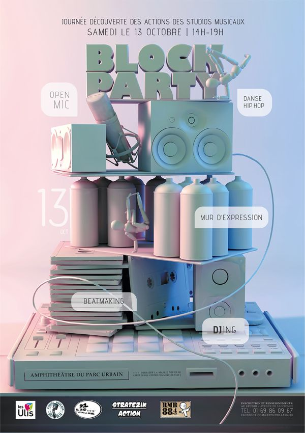 Block Party Poster by Felicia Korhonen, via Behance #3D #design #poster