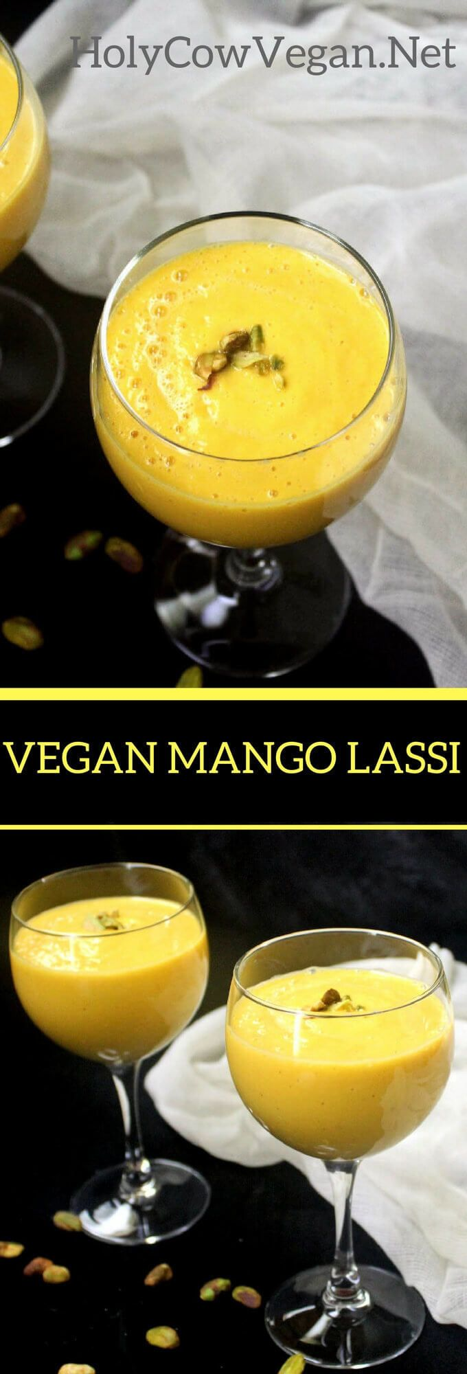 This Vegan Mango Lassi is the best drink to chill down during these sweltering summer days. Cardamom and vanilla complement the tangy sweetness of the mangoes. Gluten-free.