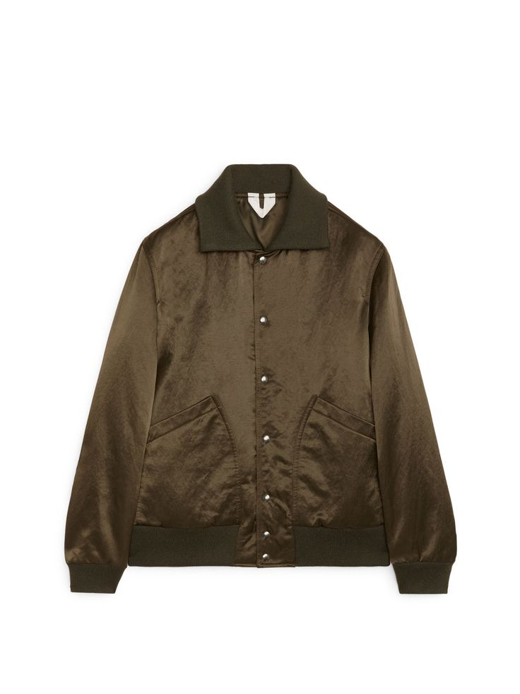 Tumbled Satin Varsity Jacket - Brown - Jackets & Coats - ARKET SE