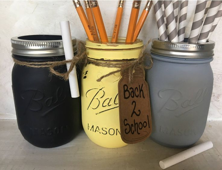 Painted Mason Jar. Back to School Decor. Teacher or Student Gift. Classroom Decor. Fall Vases. Chalkboard Paint Mason Jars. Distressed Jars. by WineCountryAccents on Etsy