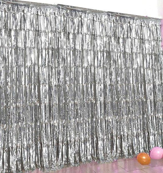 silver fringe photo booth backdrop