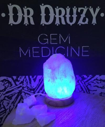 USB Himalayan Crystal Salt Lamp - Blue Natural Shape - Dr Druzy - 1