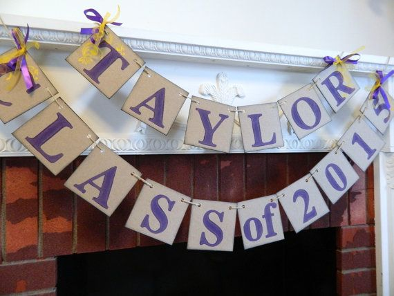 Graduation Party Decorations / High School Graduation Banner/ Class of 2016 Banner / Childs Name Decor/  You Pick the Colors