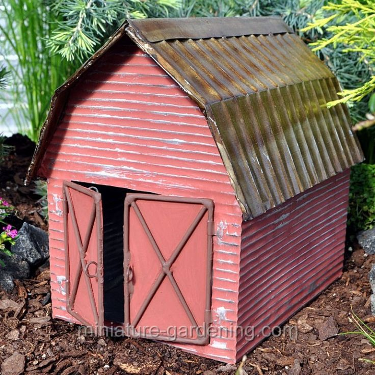 Just wait until you see what we're doing with the Miniature-Gardening.com Red Metal Barn | Where to Buy Miniature and Fairy Garden Houses – Part I | Lush Little Landscapes