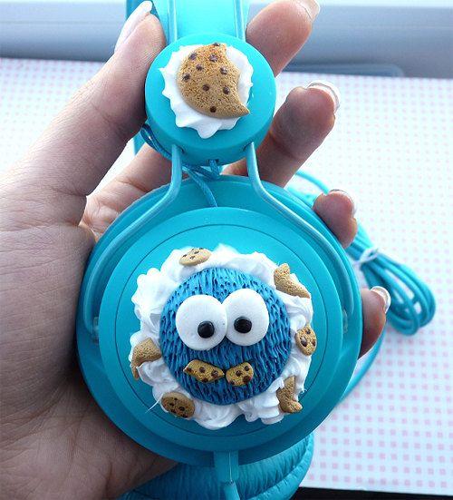 Cute Cookie Monster headphones by Natajka on Etsy