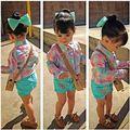 Varejo 2016 Meninas de Verão Conjuntos de Roupas Xadrez Blusa + barrette + Shorts das Crianças Baby Girl 3 pcs Set Crianças roupas Ternos